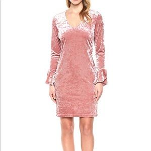 Karen Kane Pink Crush Velvet Ruffle Sleeve Dress